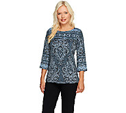 Bob Mackies Exotic Paisley Print Top - A256961