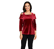 Susan Graver Stretch Velvet 3/4 Sleeve Foldover Collar Top - A259561