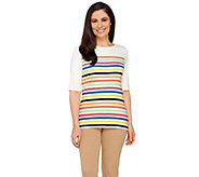 Liz Claiborne New York Multi-Stripe Elbow Sleeve T-Shirt - A262961