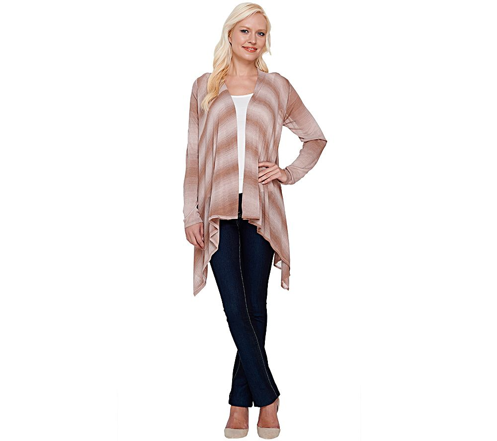 Attitudes by Renee Open Front Cascade Ombre Cardigan