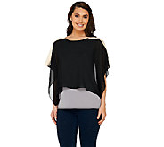 Susan Graver Premier Knit Bateau Neck Top with Chiffon Overlay - A265861