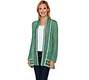 Liz Claiborne New York Pointelle Open Front Cardigan - A267261