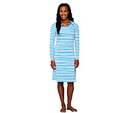 As Is Liz Claiborne New York Bateau Neck Striped Dress - A272661