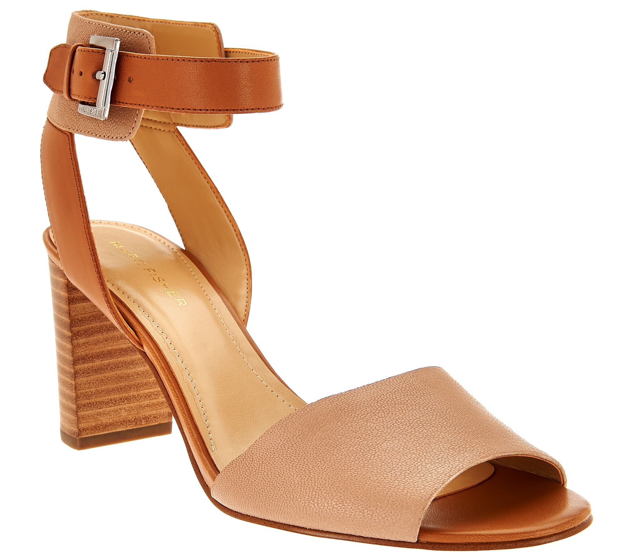 Marc Fisher Leather Ankle Strap Block Heel Sandals - Genette ...