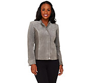 As Is Isaac Mizrahi Live! Suede Jacket w/ Lamb Leather Quilted Details - A275561