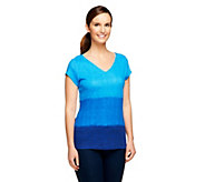 As Is Isaac Mizrahi Live! Ombre V-Neck Short Sleeve Knit Top - A276561