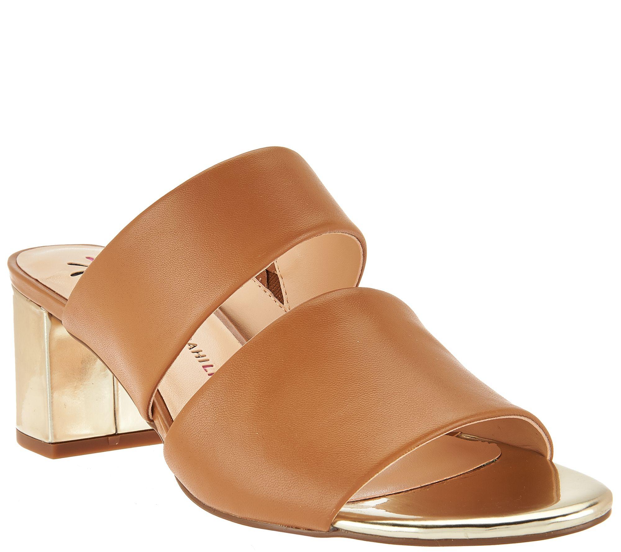 Isaac Mizrahi Live Leather Double Strap Slide Sandals W