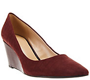 As Is H by Halston Embossed Croco Leather Wedge Pumps - Sandy - A280361
