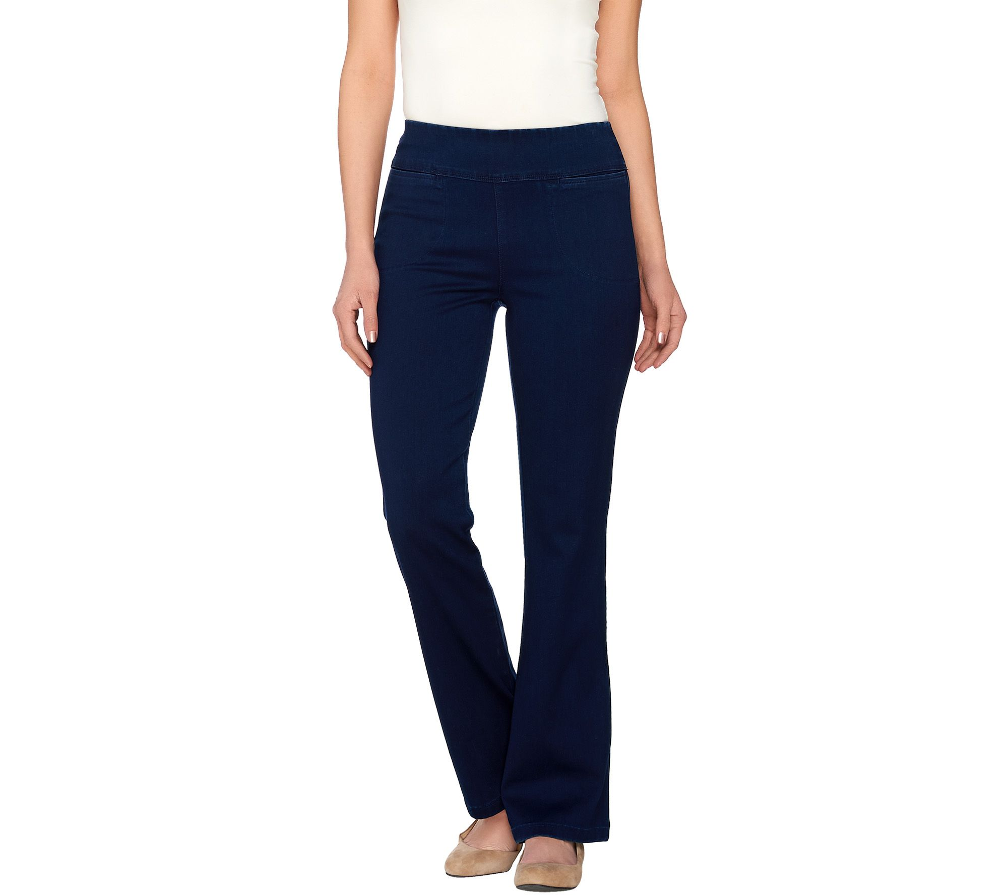 """As Is"" Denim & Co. Active Regular Denim Yoga Pants With"