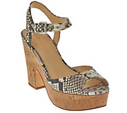 As Is Marc Fisher Leather Platform Sandals - Calia - A286361