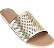 As Is H by Halston Open- Toe Perforated Leather Slides - Bailey - A287561