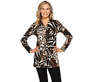 Susan Graver Printed Liquid Knit Button Front Tunic - A287761