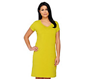 As Is Isaac Mizrahi Live! V-Neck Shirt Sleeve T-shirt Dress - A292061