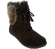 As Is Cuddl Duds Lace-up Boots with Faux Fur Trim - Bee - A293161