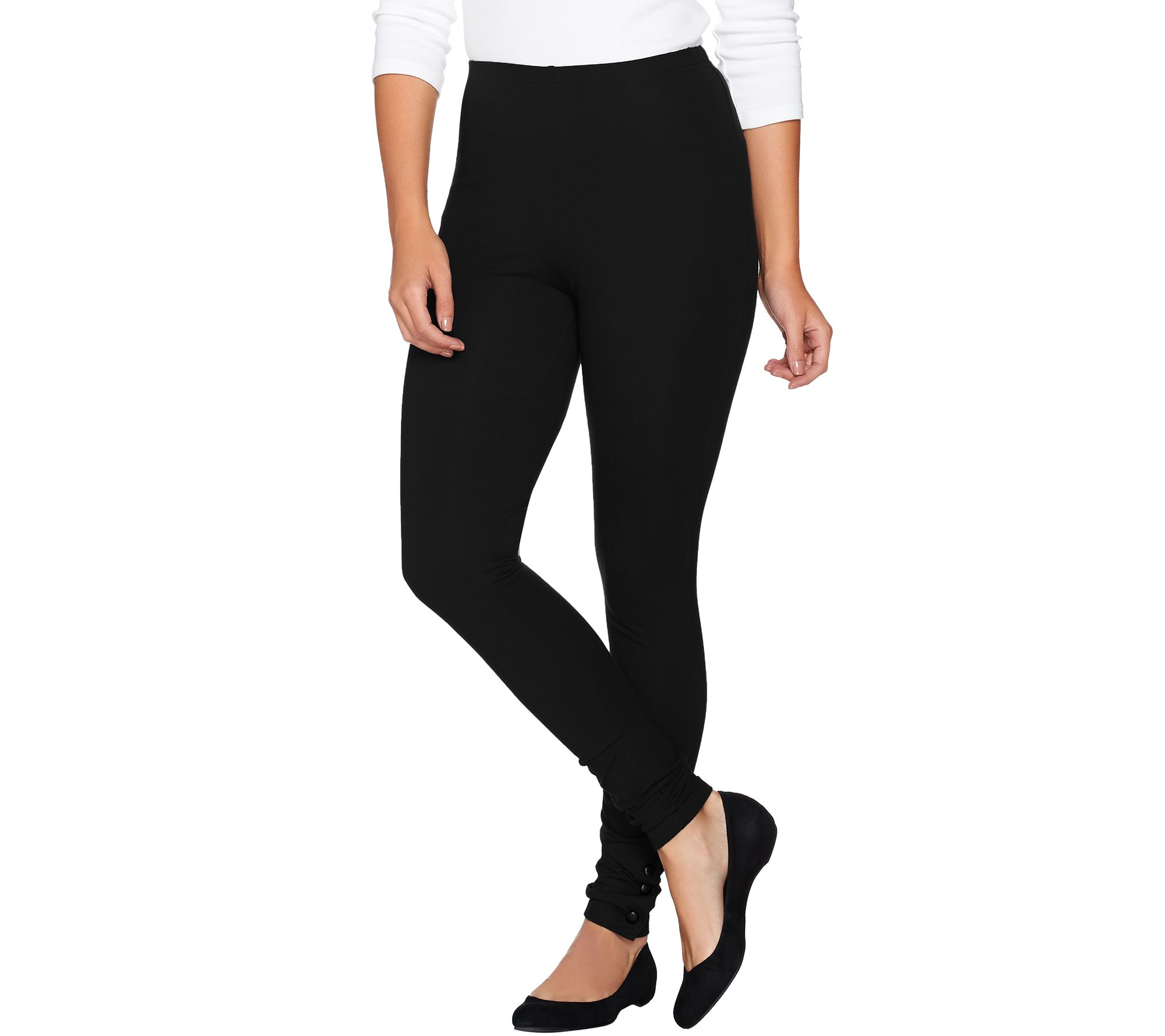 """As Is"" Women With Control Petite Knit Leggings W/Faux"