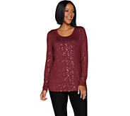 Lisa Rinna Collection Foil Print Knit Top - A299561