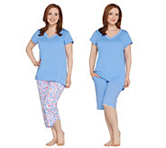 Carole Hochman Petite Floral Blossoms Cotton Jersey 3 pc Pajama Set - A302161