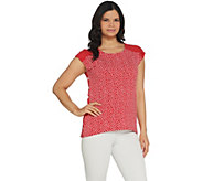 Susan Graver Polka Dot Liquid Knit Extended Sleeve Top - A304061