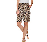 Denim & Co. French Terry Ikat Print Pull-on Shorts with Pockets - A305161