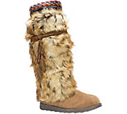 MUK LUKS Leela Boots with Faux Fur, Feather Det ails - A337761