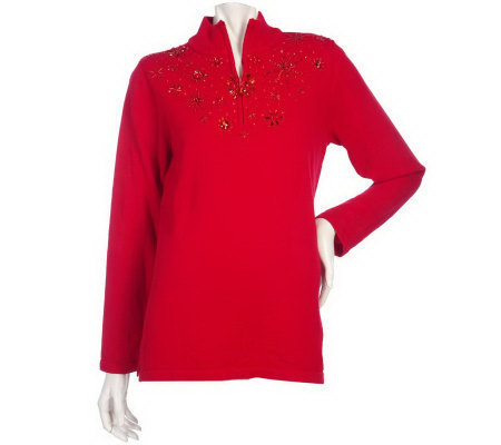 Quacker_Factory Long Sleeve Sparkle Embellished Sweater