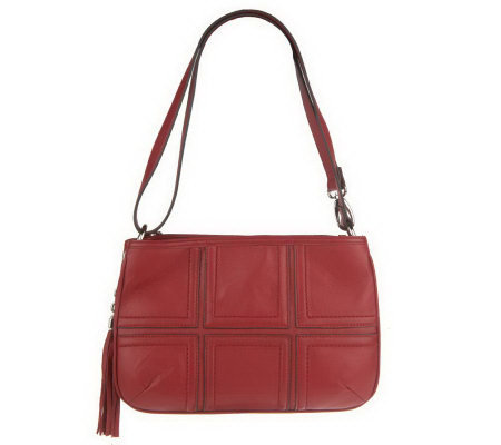 """As Is"" Tignanello Glove Leather ZipTopPatchwork Crossbody Bag"
