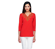 Bob Mackies 3/4 Sleeve Scallop V- Neck Tunic with Bead Detail - A234062