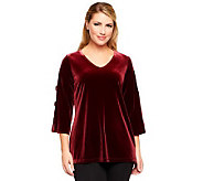 Susan Graver Knit Velvet Top w/ Sequin Banded Split 3/4 Sleeves - A238662