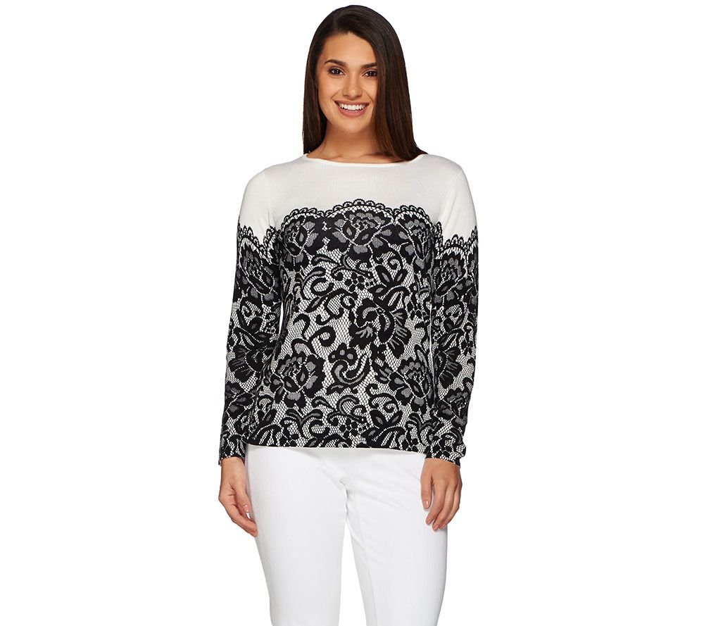 Bob Mackie's Long Sleeve Printed Lace Pullover Sweater - Page 1 ...