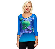 Isaac Mizrahi Live! Photo Real Floral Printed Knit Top - A239462