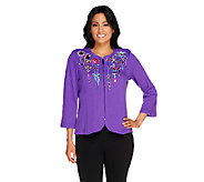 Bob Mackies Embroidered Zip Front Jubilation Knit Cardigan - A256962