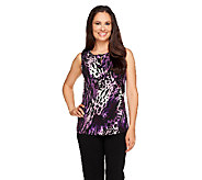 Susan Graver Printed Liquid Knit Tank with Ruched Keyhole - A257962