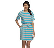 As Is Denim & Co. Beach Perfect Jersey Striped Cover-up Tunic - A260662