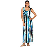 Bob Mackies Sleeveless Jersey Knit Stripe Printed Maxi Dress - A265362