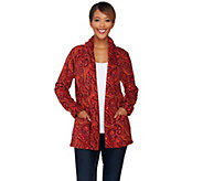 Liz Claiborne New York Printed Fleece Open Front Cardigan - A270762
