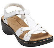 As Is Clarks Leather T-strap Sandals w/ Back Strap - Hayla Flute - A271762