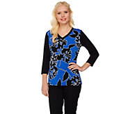 Susan Graver Printed Liquid Knit V-Neck Top with Solid Sleeves - A273462