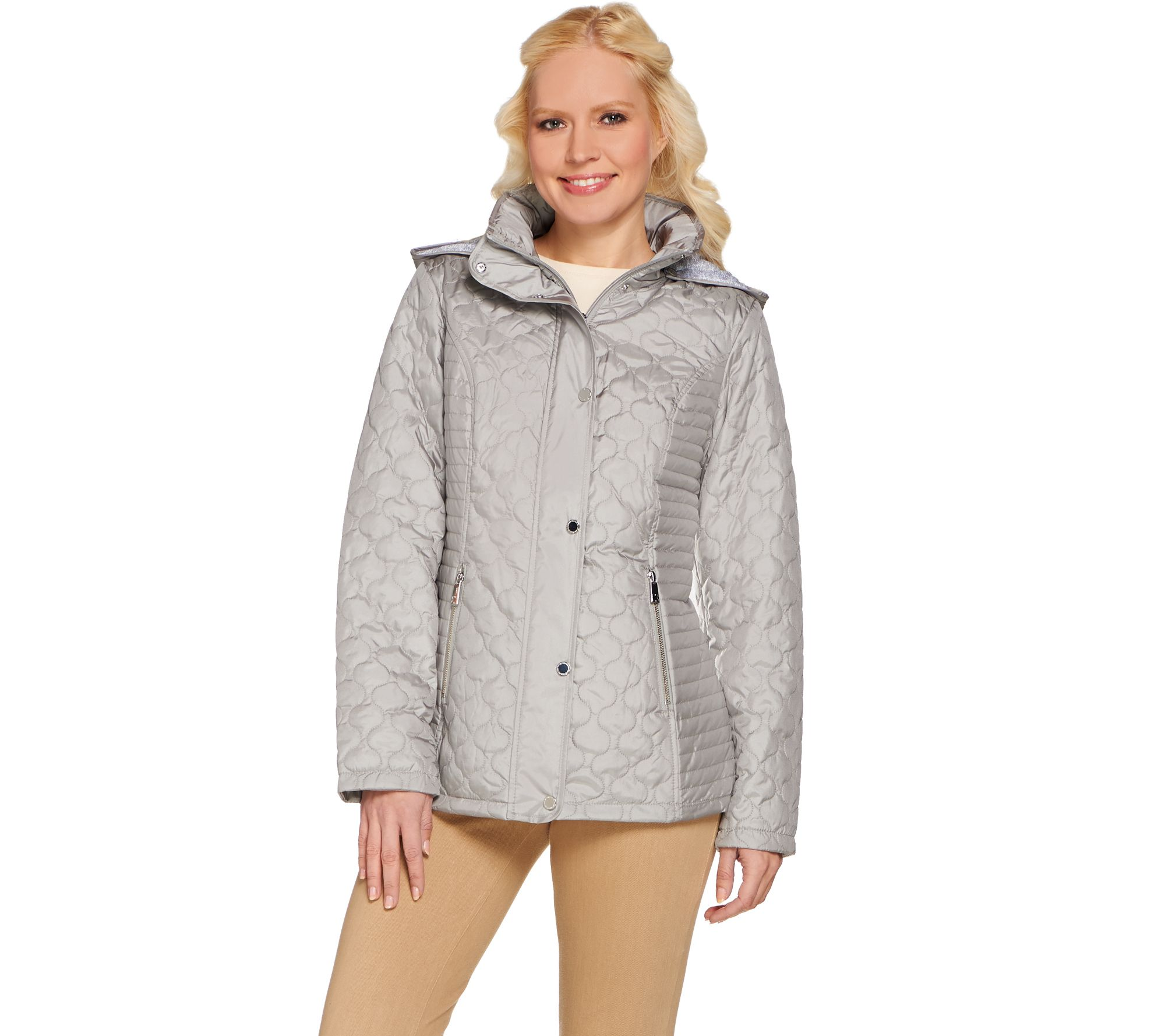 Liz Claiborne New York Quilted Snap Front Jacket W Hood