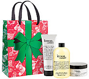 philosophy lemon custard body polish, bath gel & body souffle trio - A274762