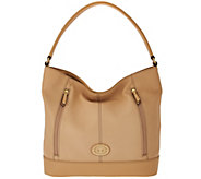Tignanello Pebble Leather RFID Hobo with Front Zips - A274862