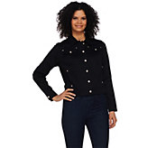 Quacker Factory Cropped Woven Jacket with Rhinestone Buttons - A275262