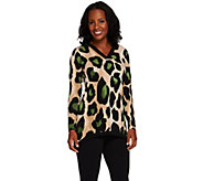 As Is Susan Graver Printed Liquid Knit Long Sleeve V-Neck Top - A276162