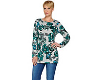 Denim & Co. Long Sleeve Floral Printed Round Neck Tunic - A280662