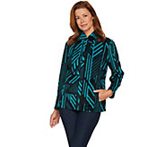 Susan Graver Weekend Printed Polar Fleece Zip Front Jacket - A281162