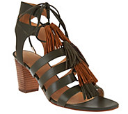 As Is Marc Fisher Fringe Leather Lace-up Sandals - Playful - A286362
