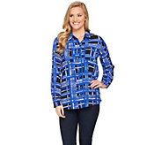 Susan Graver Printed Stretch Woven Button Front Shirt - A286562