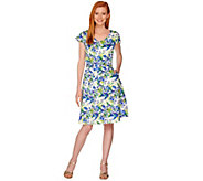 Isaac Mizrahi Live! Garden Floral Print Fit and Flare Dress - A288662