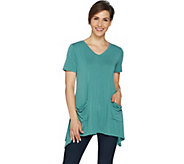 LOGO by Lori Goldstein Washed Jersey Knit Top with Patch Pockets - A288862