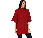 Denim & Co. Stand Collar Pullover Cable Knit Poncho - A298462