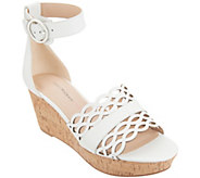 Isaac Mizrahi Live! Leather Wedge Sandals - A303062